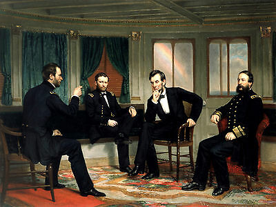 Civil War Art Photo-Generals Sherman and Grant,Abraham Lincoln & Admiral Porter