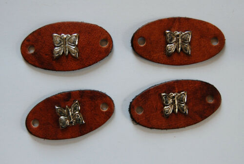 VINTAGE 4 GENUINE LEATHER OVAL STAMPINGS METAL BUTTERFLY LEATHER CRAFT REPURPOSE