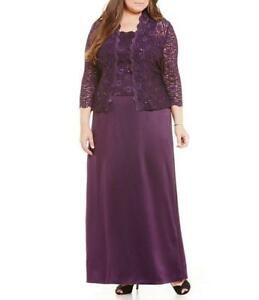 Details about ALEX EVENINGS® Plus Size 16W Eggplant A-line Jacket Dress or  Gown NWT $219