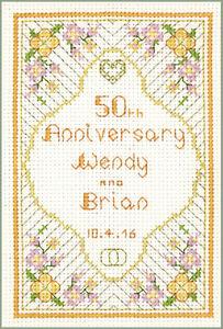 25ème Anniversaire-Cross Stitch Kit sur 14 Aida Silver anniversaire Sampler