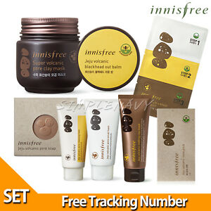 innisfree-Jeju-Volcanic-Pore-Set-Super-Clay-Mask-Foam-Scrub-Soap-Blackhead-Balm