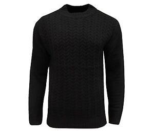 Soul-Star-Uomo-TUGGER-a-collo-alto-maglione-a-maglia-intrecciata-nero
