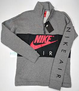 74f57b33cdea Nike Air 1 2 Zip Fleece Pullover Sweatshirt Mens Black Grey Red ...