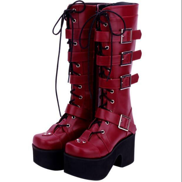 femmes Winter Punk Gothic Buckle Strap Lace Up Knee Knee Knee High Knight bottes US Taille dd40ad