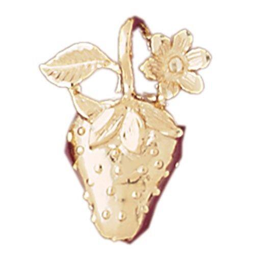 NEW 14k YELLOW gold STRAWBERRY FRUIT CHARM PENDANT SLIDE JEWELRY