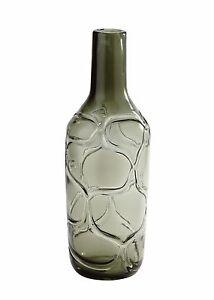 "New 15"" Hand Blown Art Glass Vase Bottle Smoke Grey Decorative"