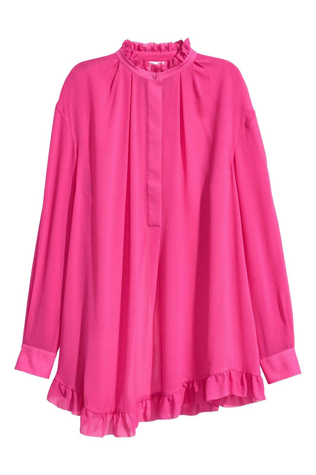 H&M STUDIO SILK Flounced Cerise Rosa Wide Tunic Frill Blouse Dress