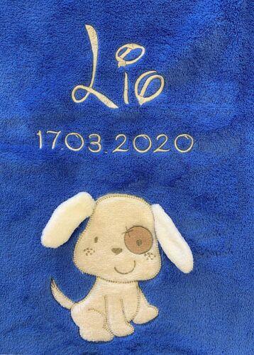 ❤ Baby manta bordada con nombre y fecha de ⭐ azul con Dog ⭐ ❤