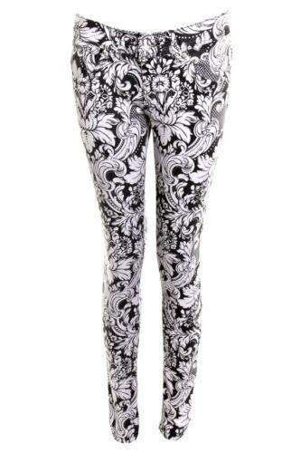 Ladies Womens Denim Skinny Jeans Slim Fit Black White Cross Floral Zigzag Print