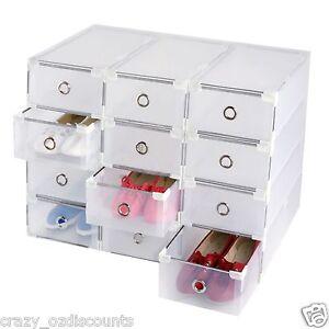20 x storage shoe boxes plastic drawer box garage tool. Black Bedroom Furniture Sets. Home Design Ideas