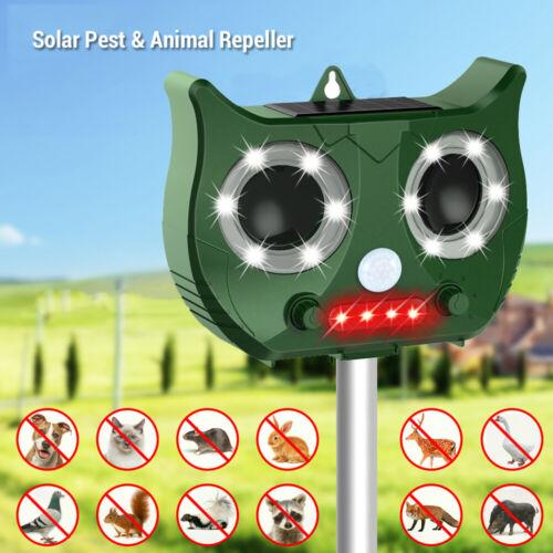 Solar Ultrasonic Animal Pest Repeller Snake Cat Dog Bird Dispeller PIR Sensor