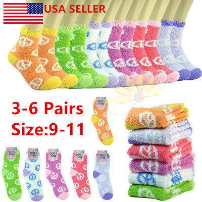 3-10 Pairs Cozy Fuzzy Super Soft Winter Peace Sign Slipper Crew Socks 9-11