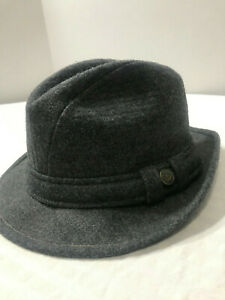Trav-039-ler-by-Country-Gentleman-Charcoal-Corded-Wool-Fedora-Hat-Size-6-7-8