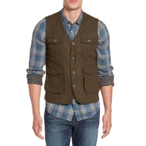 Jeremiah-Mens-Brown-Pockets-Porter-Herringbone-Tweed-Wool-Vest-Size-XL