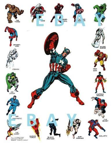 Marvel CHARACTERS BORDERED PRINT w CAPTAIN AMERICA Vintage art Steranko