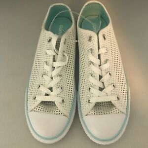 Converse Casual Women S Shoes Sneakers Mesh Wedding White Teal Size 5 Ebay