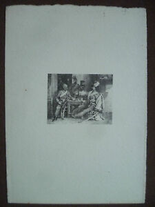 XIX Antik Gravur Miniatur Militär Unterzeichnet Szene Skurrilität Charlet