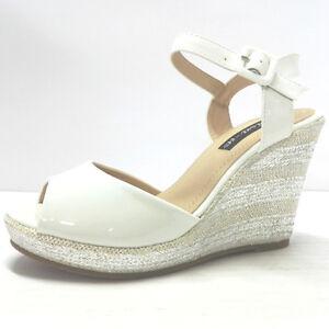 Sandalo Donna Vernice bianco Con Zeppa 100 In Spago Plateau chiusura cinturino