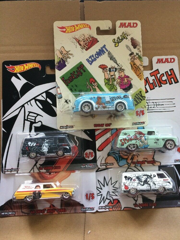 HOT WHEELS DIECAST Pop Culture MAD Set Of 5 '64 Chevy Nova Panel, '66 Dodge A100