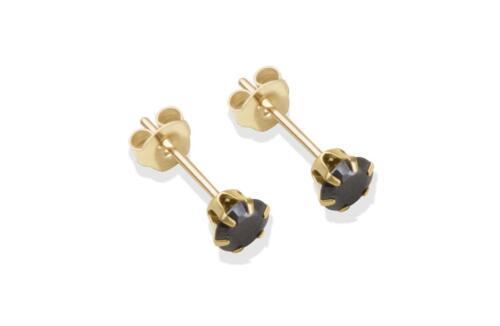 Oro Amarillo 9 CT 4 mm Negro Cubic Zirconia CZ Stud Pendientes//TACHUELAS//Caja