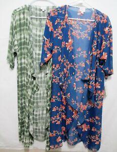 Nuovo-con-etichette-lularoe-Shirley-LOTTO-2-Scialle-Kimono-Taglia-S-Blu-Floreale-Verde-Tie-Dye-Lungo