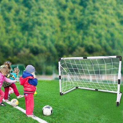 2 Pcs Portable Soccer Goal Net Steel Post Frame Backyard ...