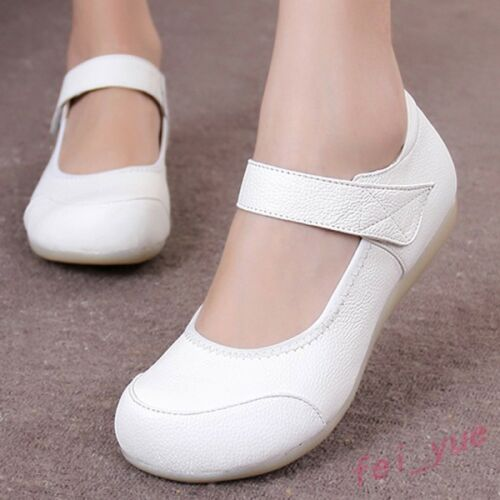 Womens Fashion Cow Leather Flats Comfy Work Round Toe Shoe Pregnant Nurse Loafer