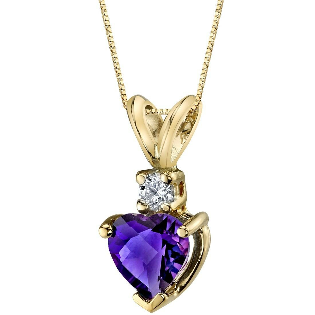 Oravo 14 Kt Yellow gold Heart 0.75 cts Amethyst Diamond Pendant