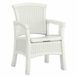 Suncast Elements Durable Resin Outdoor Patio Dining Chair with Storage, White