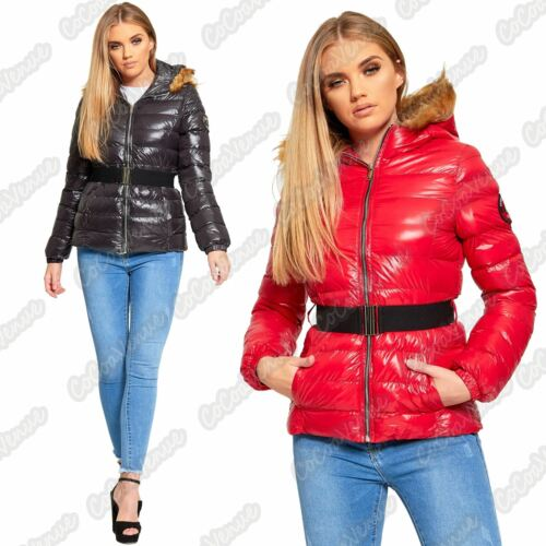 Womens Puffer Padded Shiny Belt Fur Hooded Brave Soul Zip Up Winter Jacket Coat
