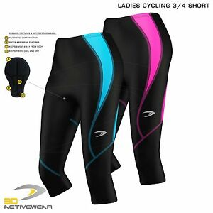 Ladies-Cycling-3-4-Three-Quarter-Tights-Pants-Shorts-Bicycle-Padded-Legging