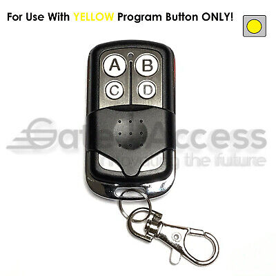 Chamberlain Garage Door Opener Key Chain Remote Transmitter Yellow Learn Button