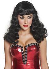 Cirque Sinister Glamour Wig Black Halloween Ladies Fancy Dress