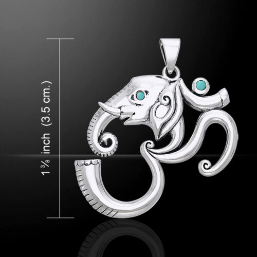 Om Ganesh .925 Sterling Silver Pendant Choice of Gemstone by Peter Stone