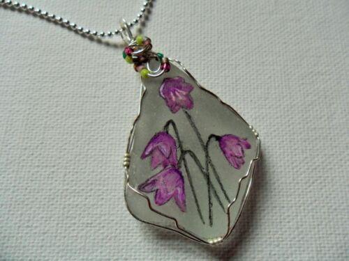 """Harebell Púrpura Collar de flores silvestres inglés pintado a mano cadena de Mar de Cristal 18/"""""""