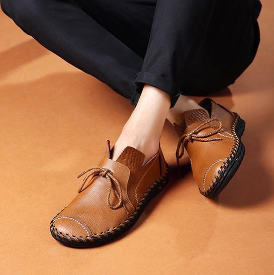Men's Comfy Pull On Leather Flat Loafers Lace Up Casual Driving Moccasins shoes