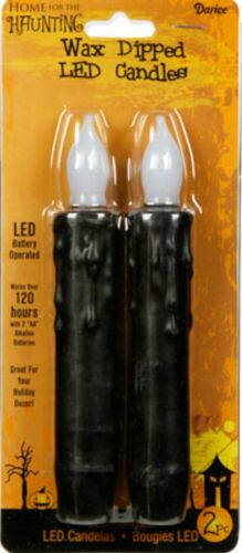 Primitive *Flickering`Black Wax Dipped Candles Flameless 6.5 inches Pack of 2!