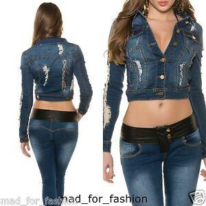 Bleu 8 Jeans Vieilli Ue Veste Koucla 10 Court Sexy Uk Look 12 En SBxgnC