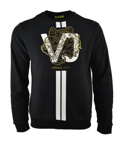Versace Jeans Sweat-shirt Or Noir Rayure Blanche Imprimé Tigre Logo Pull RARE