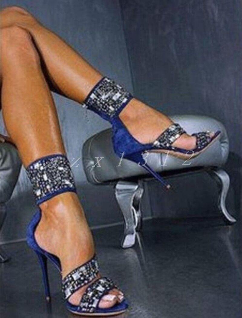Correas En El Tobillo Stiletto Diamante de imitación de ante para mujer Punta Abierta Sandalias Damas Zapatos Talla