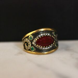 925-Sterling-Silver-Handmade-Authentic-Turkish-Ruby-Ladies-Ring-Size-8