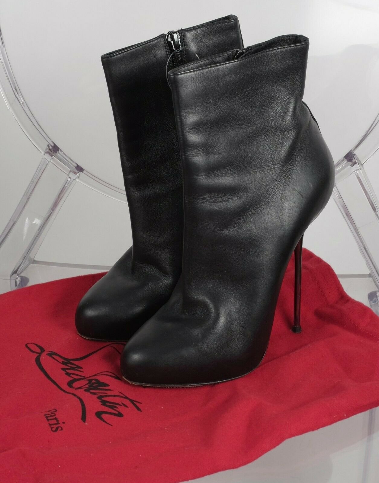 CHRISTIAN LOUBOUTIN sz 38     8 black moulded leather ankle boots silver heels 3a7d6c