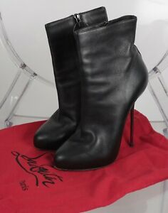 Details about CHRISTIAN LOUBOUTIN sz 38 8 black moulded leather ankle boots silver heels