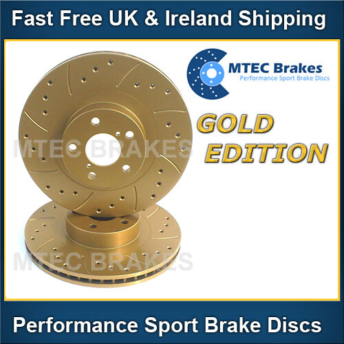 Audi A6 1.9 TDi 115bhp 00-01 Front Brake Discs Drilled Grooved Mtec GoldEdition