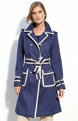 SIZE 12 ST. JOHN COLLECTION BLUE & CREAM BELTED TRENCH COAT NWT $1495