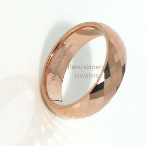 Tungsten-Carbide-Ring-6MM-Rose-Gold-IP-Faceted-Wedding-Band-Comfort-Fit