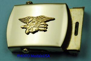Navy-SEAL-Trident-tan-khaki-USN-Web-Belt-amp-Brass-Buckle-GL0511