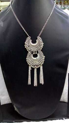 Indian Bollywood Style Argent Oxydé Mugal beau collier sans boucles d/'oreilles
