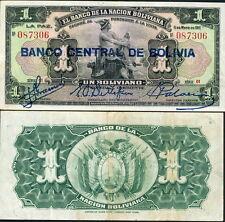 BOLIVIA 1 BOLIVIANO P-112 BANCO CENTRAL OVERPRINT (1929) MERCURY - CRISP VF!