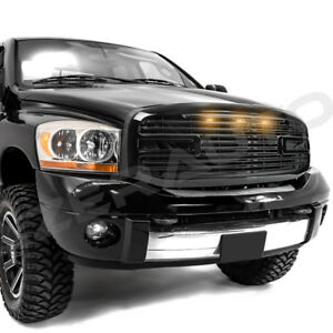 Gloss-Black-Big-Horn-3LED-Grille-Replacement-Shell-for-06-09-Dodge-RAM-2500-3500